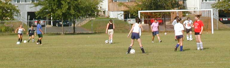 Girls soccer at the site of the Hamden Middle School
