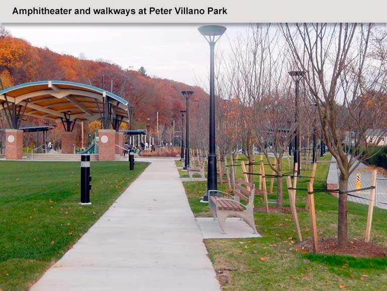 Ampitheater and walkways at Peter Villano Park